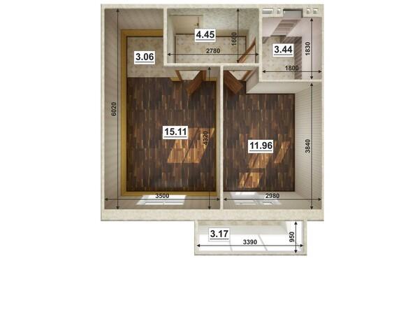 Планировки Жилой комплекс ЮГО-ЗАПАДНЫЙ, б/с 8-10 - Планировка двухкомнатной квартиры 38,82 кв.м