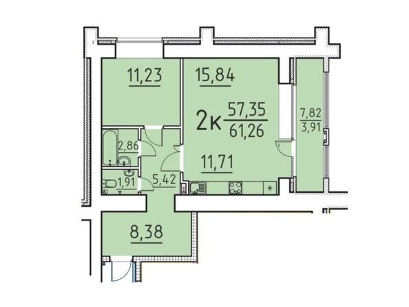 Планировка 2-комн 57,35, 61,26 м²