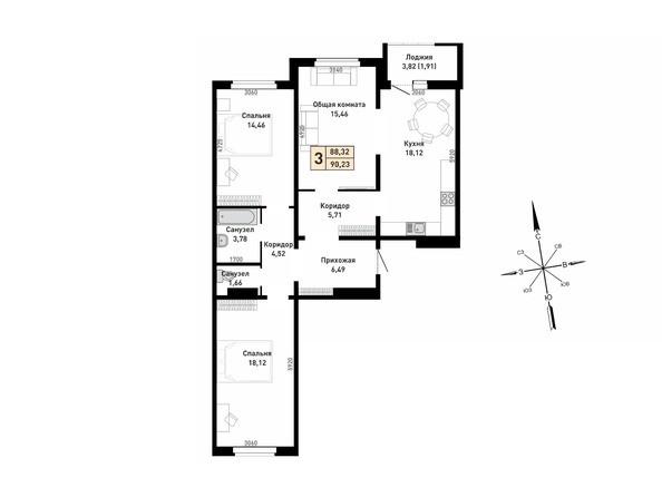Планировка 3-комн 88,32, 90,23 м²