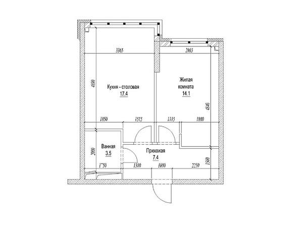 Планировка 1-комн 44,5 м²