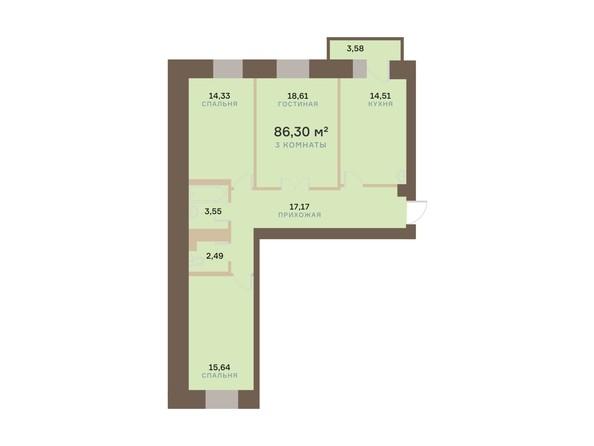 Планировка 3-комн 86,3 м²