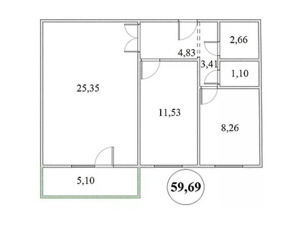 Планировка 2-комнатной квартиры 59,67 кв.м