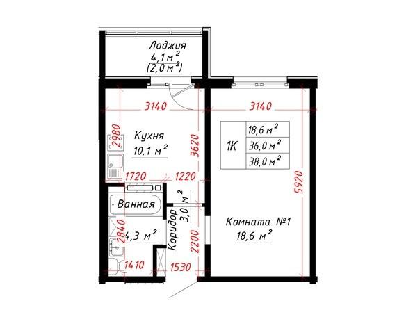 Планировка 1-комн 38 м²