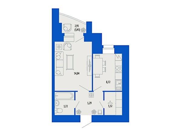 1-комнатная 36.57 кв.м
