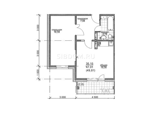 Планировки РЕКОРДНЫЙ - Планировка двухкомнатной квартиры 47 кв.м