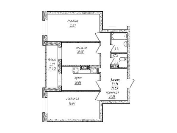 3-комнатная 76.69 кв.м