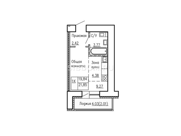 Планировки Жилой комплекс АНТОН ПАЛЫЧ  - Планировка однокомнатной квартиры 21,58 кв.м