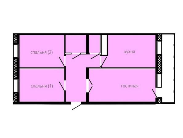 Планировки БОГАТЫРСКИЙ ж/к, 4 б/с - Планировка трехкомнатной квартиры 67,55 кв.м