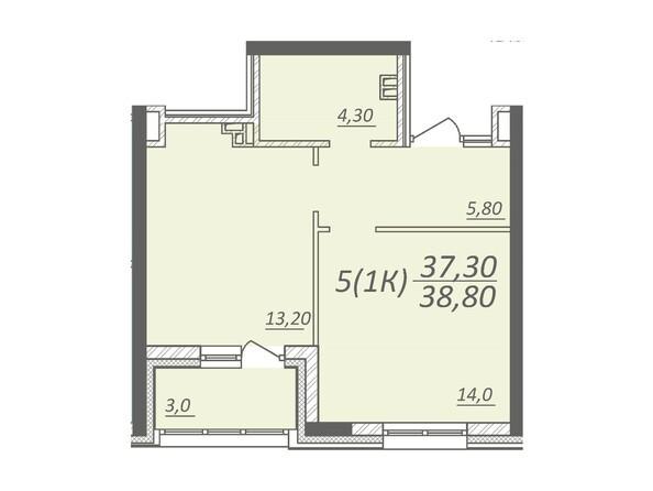 Планировка 1-комнатной квартиры 38,8 кв.м