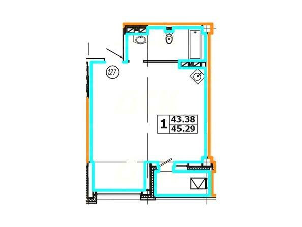 Планировка 1-комнатной квартиры 45,29 кв. м