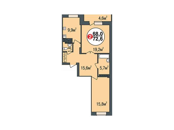 Планировки Жилой комплекс ПОКРОВСКИЙ, б/с 3, 4, 5 - Планировка двухкомнатной квартиры 72,6 кв.м