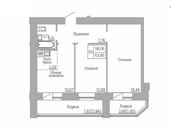 3-комнатная 58 - 63.85
