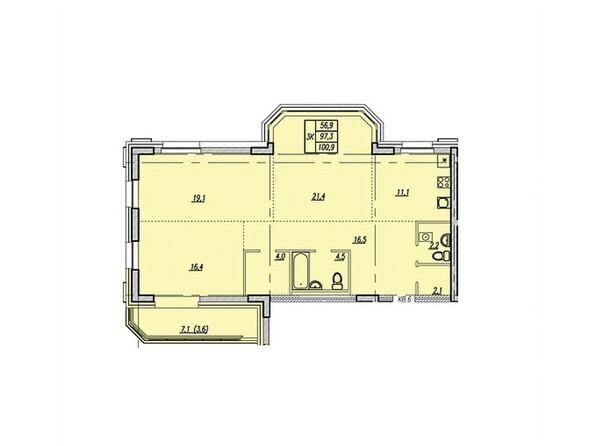 Планировки Жилой комплекс НОВАЯ ВЫСОТА, дом 1 - Планировка трёхкомнатной квартиры 100,9 кв.м