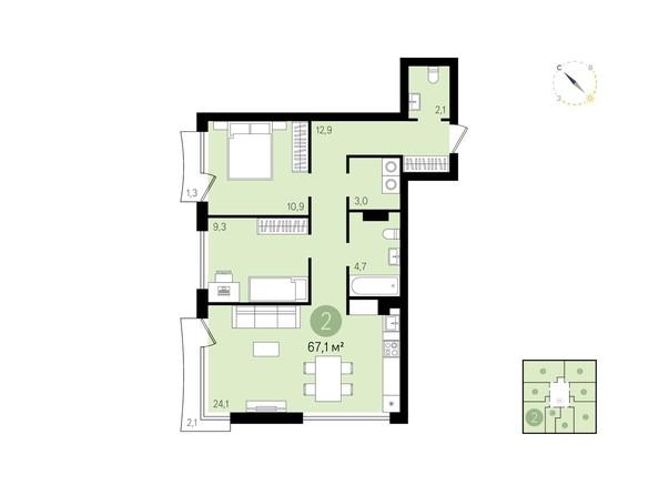 Планировка 2-комн 67,1 м²