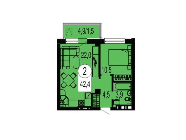 Планировка двухкомнатной квартиры 42,4 кв.м