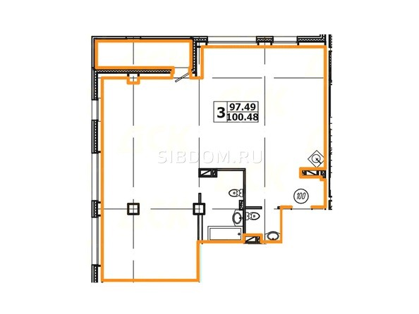 Планировка 3-комнатной квартиры 100,48 кв. м
