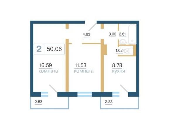 Планировка 2-комн 50 - 50,5 м²