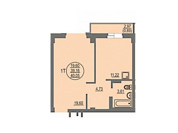 1-комнатная 40.05 кв.м