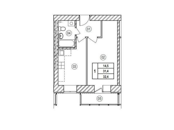Планировки Жилой комплекс ВЕРХНИЙ БУЛЬВАР, 7 дом, б/с а,б,в - Планировка однокомнатной квартиры 32,4 кв.м