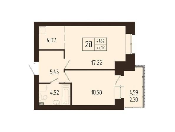 Планировки Жилой комплекс СВОИ ЛЮДИ  - Планировка двухкомнатной квартиры 44,12 кв.м