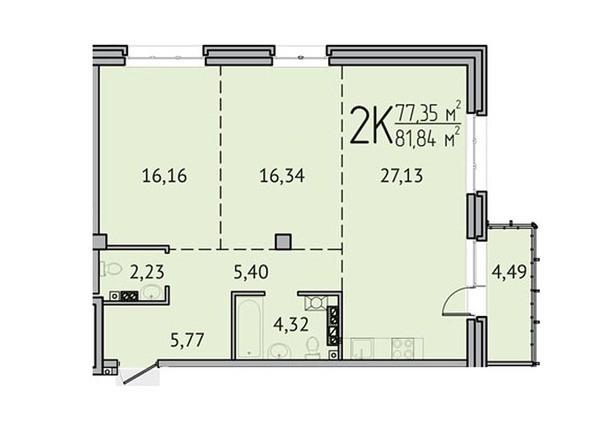 2-комнатная 77,35 кв.м