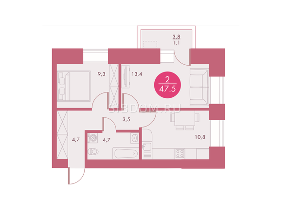 Планировки Жилой комплекс Арбан SMART (Смарт) на Шахтеров, д 2 - Планировка двухкомнатной квартиры 47,5 кв.м