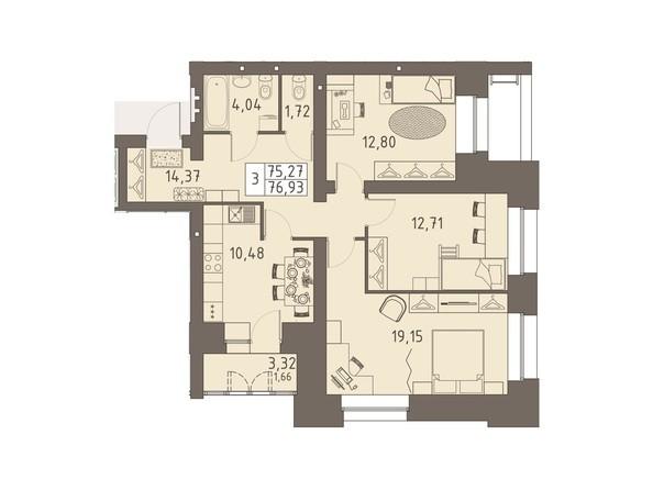 Планировки ВАВИЛОВСКИЙ ДВОРИК - 3-комнатная 76,93 кв.м
