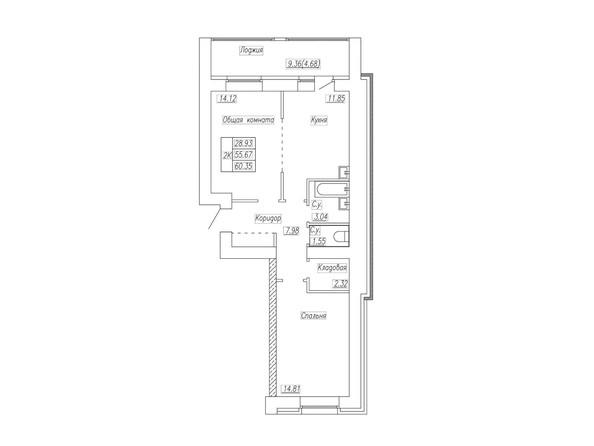 Планировка 2-комн 60,35 м²