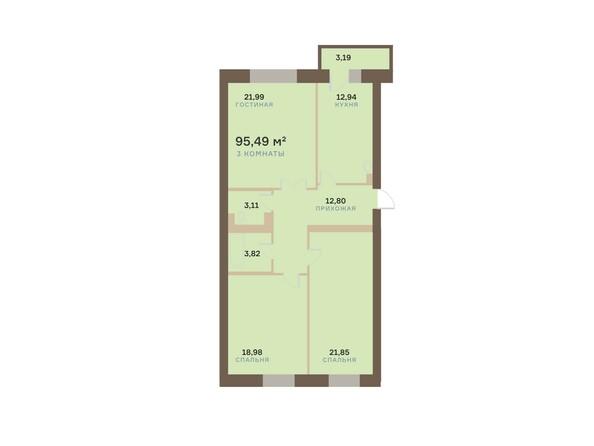 Планировки Жилой комплекс АЛЕКСАНДРОВСКИЙ, дом 1 - 3-комнатная 95,49 кв.м