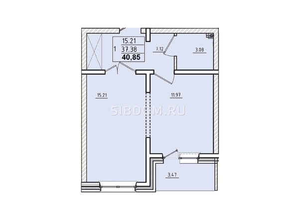 Планировки Жилой комплекс КОРИЦА, дом 2 - 1-комнатная квартира 40,85 кв.м