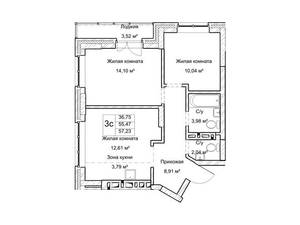 Планировки Жилой комплекс ГУДИМОВ - Планировка трехкомнатной квартиры 55,4 кв.м