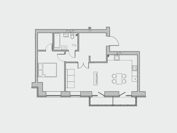 Планировки Жилой комплекс ПРЕОБРАЖЕНСКИЙ, дом 4 - Планировка двухкомнатной квартиры 65 кв.м