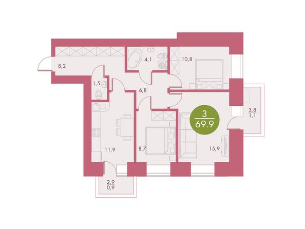 Планировки Жилой комплекс Арбан SMART (Смарт) на Шахтеров, д 2 - Планировка трехкомнатной квартиры 69,9 кв.м