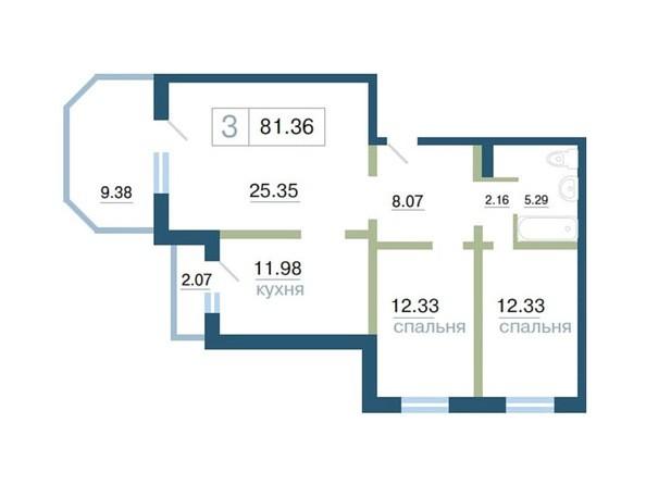 Планировка 3-комн 81,36, 81,41 м²