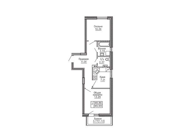 2-комнатная 49.99 кв.м