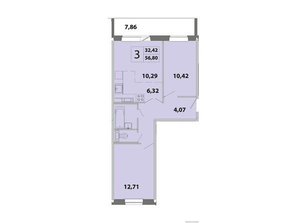 Планировки Жилой комплекс ЗЕЛЁНЫЕ ГОРКИ, КПД-2 - Планировка трёхкомнатной квартиры 56,8 кв.м