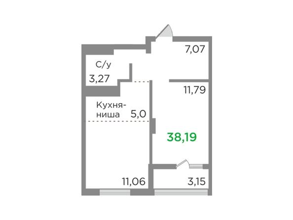 Планировки Жилой комплекс ЯСНЫЙ БЕРЕГ, дом 12 - Планировка двухкомнатной квартиры 38,19 кв.м