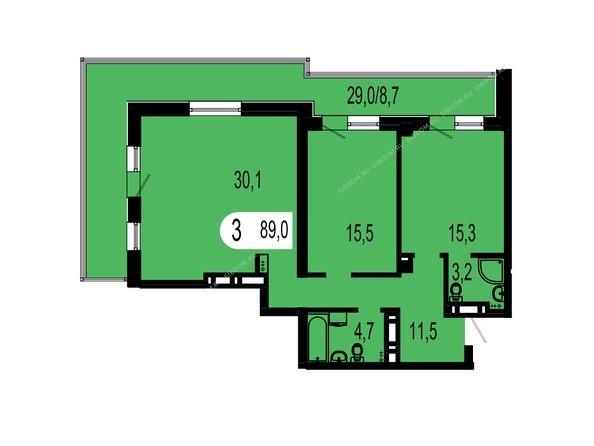Планировки Жилой комплекс ТИХИЕ ЗОРИ, дом 1 (Красстрой) - Планировка трехкомнатной квартиры 89 кв.м