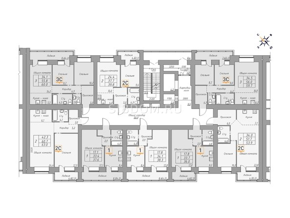 Планировки ДВЕ ЭПОХИ, корпус 1 - Планировка 14-16 этажей, 2 б/с