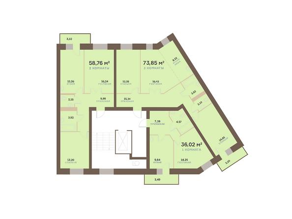 Планировки Жилой комплекс Академгородок, дом 1, корп 3 - Корпус 3. Подъезд 11. Планировка типового этажа