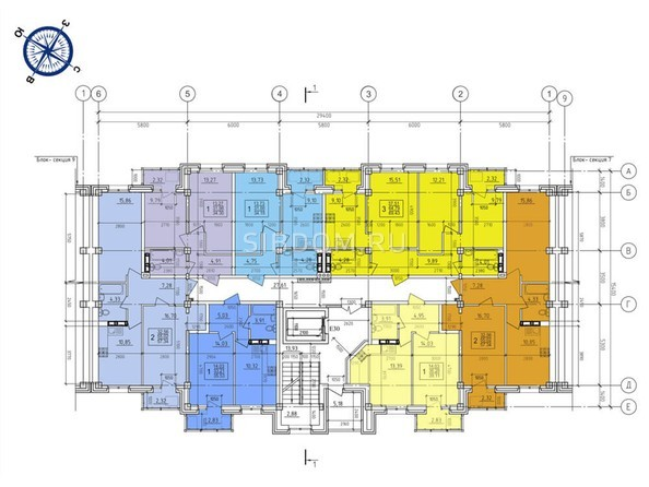 Планировки Жилой комплекс ИРКУТСКИЙ ДВОРИК-2,  б/с 1-3 - Планировка типового этажа