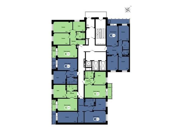 Планировки Жилой комплекс GEO (ГЕО), б/с 1-2 - Блок-секция 2. Планировка типового этажа