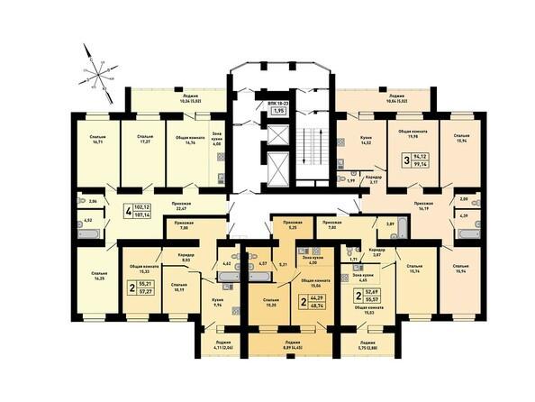 Блок-секция3. Планировка 2-7 этажей