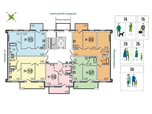 Блок-секция 4-16. Планировка типового этажа