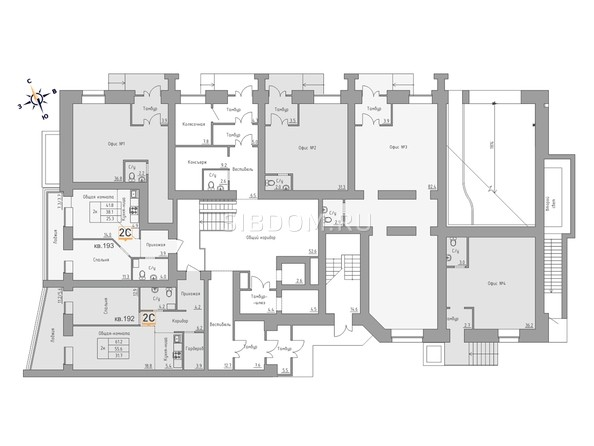 Планировки Жилой комплекс ДВЕ ЭПОХИ, корпус 3 - Планировка 1 этажа, 4 б/с