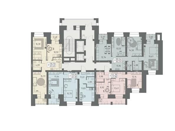Подъезд 1. Планировка 2-5 этажей