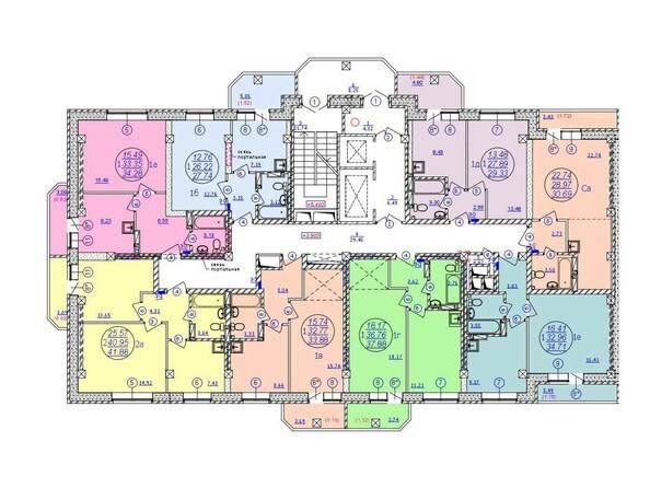 Подъезд 1. Планировка 2-15 этажей