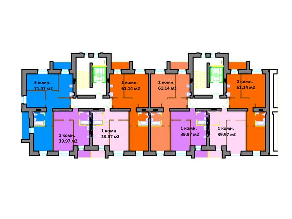 Планировки Жилой комплекс СЕРЕБРЯНЫЙ БЕРЕГ, дом 11 - Подъезд 1-2. Планировка типового этажа