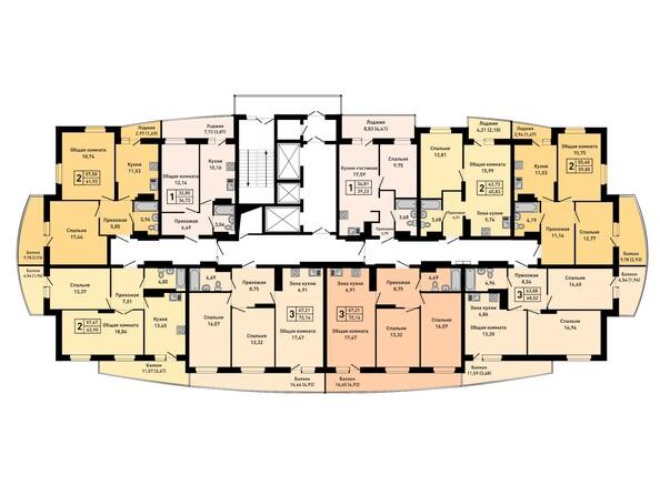 Планировки Жилой комплекс РУБИН - Планировка 24 этажа