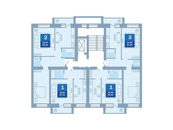 Планировки Жилой комплекс 12 Декабря, 117/3 - Подъезд 2-3. Планировка типового этажа